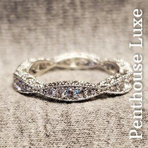 NEW!! Micro-Pave Sterling Silver Diamond Band